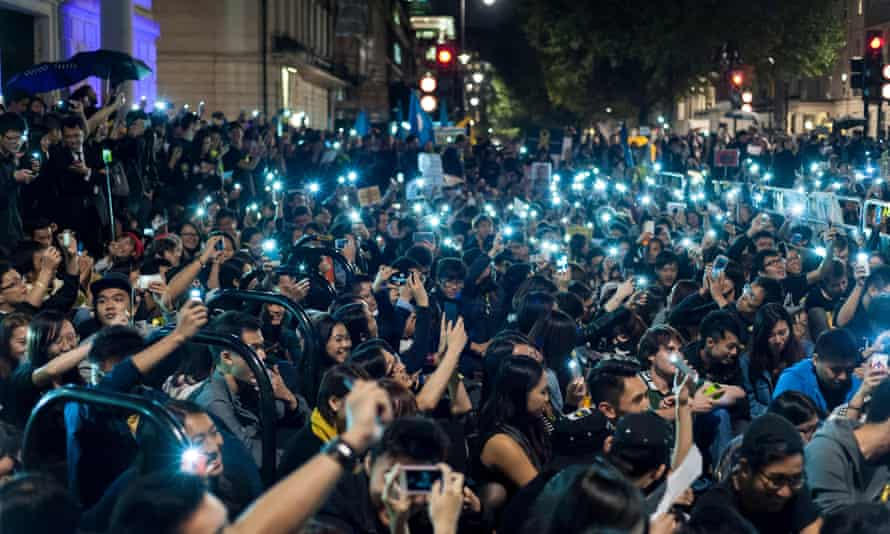 Pro-democracy protesters outside the Chinese Embassy in London in support of Hong Kong.