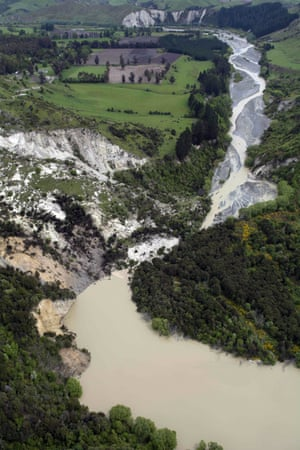 A lake caused by the quake on the Conway River near Kaikoura.