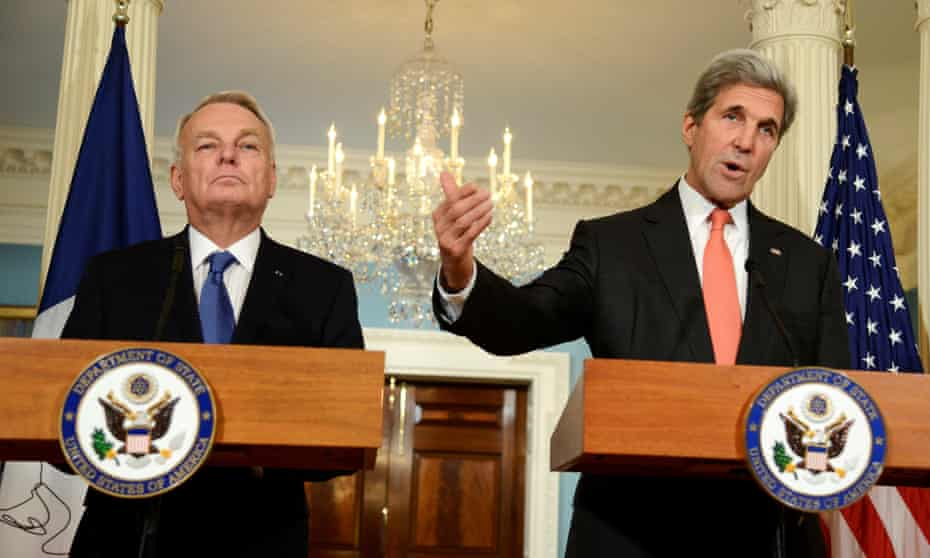Secretary of State John Kerry and the French foreign minister, Jean-Marc Ayrault