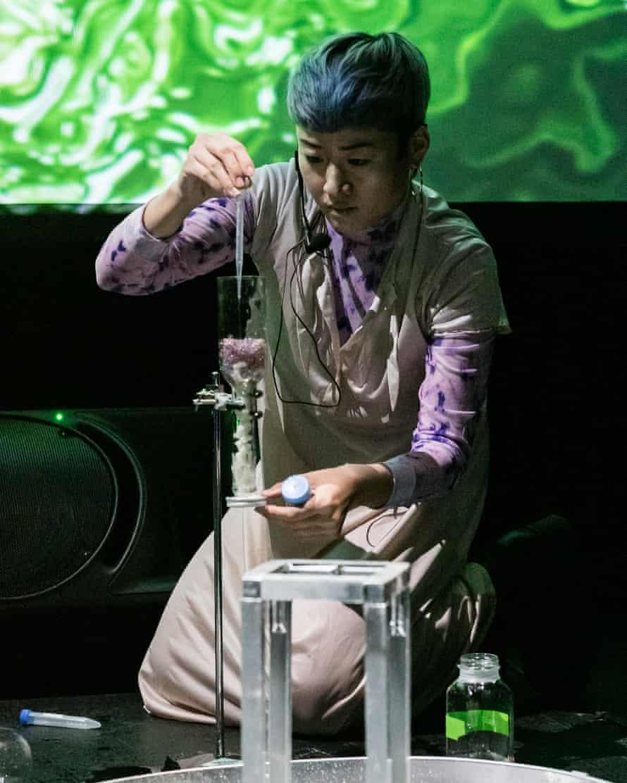 Elegant peeing ... artist and biohacker Mary Maggic.