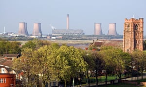 Widnes, with the Fiddlers Ferry power station in the distance.
