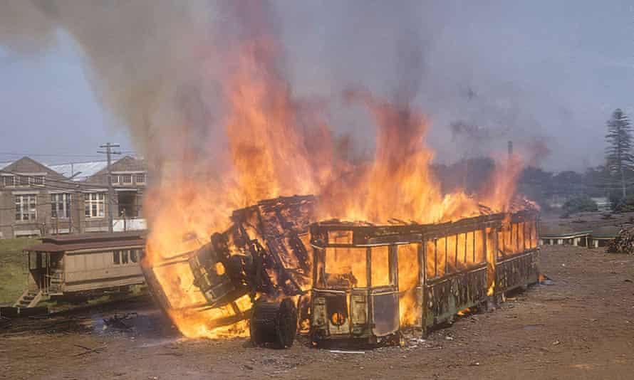 Burning Sydney trams at Randwick