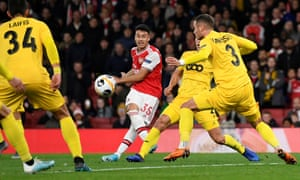 Arsenal's Gabriel Martinelli scores their second goal.