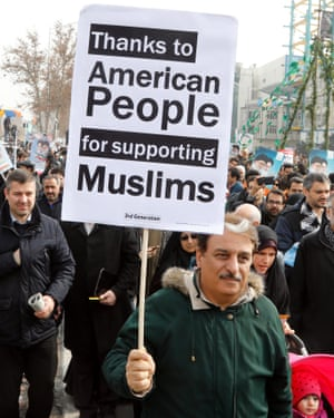A placard at the rally in Tehran