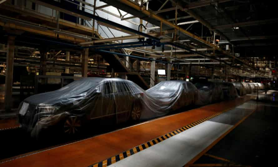A shuttered assembly line at a Volkswagen factory in Lisbon