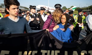 The Extinction Rebellion protest outside Heathrow airport