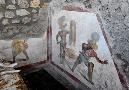 The fresco was discovered on a wall in what was probably a tavern frequented by gladiators.