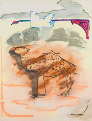"""Cream Camel, 1980, Acrylic on canvas Here is an archetypal Pop Art subject - a cigarette packet. Surely this fits the bill of what Andy Warhol called """"all the great modern things."""" Yet in this later work just as in his earlier paintings, Rivers paints the Camel packet with an impressionistic looseness and sensitivity that has nothing to do with the hard brashness of pop culture. In fact he frees the camel from its imprisonment on a Camel packet and lets it wander in a fantasy Sahara. It has returned to a 19th century realm of French Foreign Legion romance."""