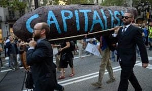 Protesters in Barcelona last Friday at the end of a global climate action week