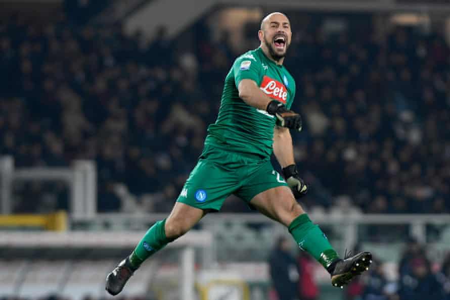 A jubilant Pepe Reina during Napoli's win.