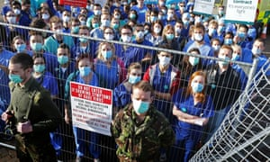 Junior doctors protest in London outside Secret Cinema production of 28 Days Later