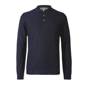 Dark blue long sleeved polo shirt