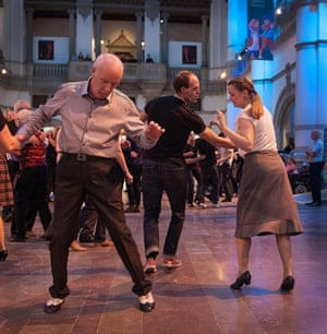 A 1950s-themed dance event in the main hall of the Nordiska Museet in Stockholm