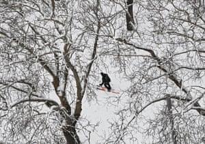 After heavy snowfall in Pamplona, north Spain, skiing is possible in Parque de la Ciudadela