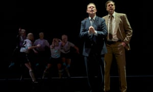 Andrew Lancel as Brian Clough and Tony Bell as Peter Taylor in The Damned United at West Yorkshire Playhouse.