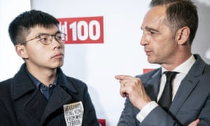 Joshua Wong talks to the German foreign minister, Heiko Maas, in Berlin.