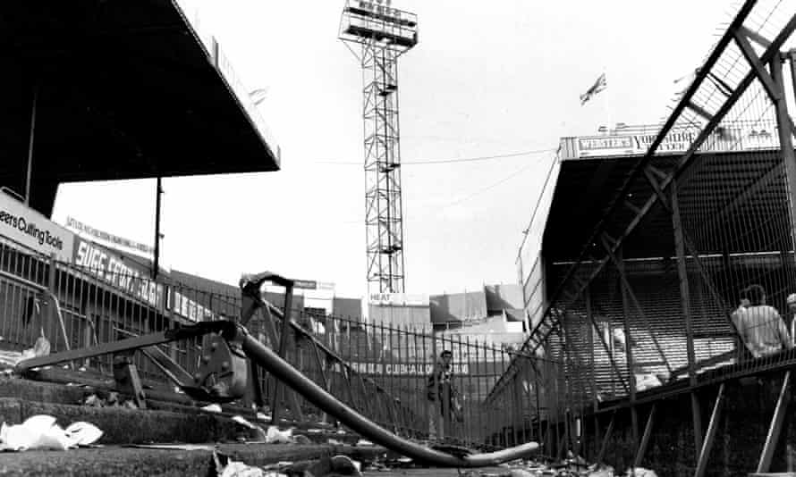 Hillsborough's Leppings Lane terrace the day after the stadium disaster in April 1989.