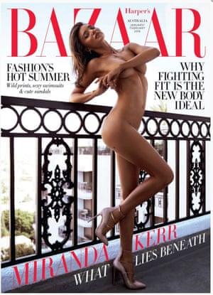 Australian model Miranda Kerr on the front cover of Harper's Bazaar.