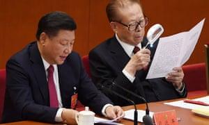 Chinese president Xi Jinping, pictured alongside studious former president Jiang Zemin