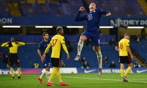 Ross Barkley of Chelsea celebrates after scoring his team's third goal.