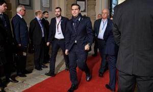 Alexis Tsipras arriving in Valletta, Malta, for the EU summit.