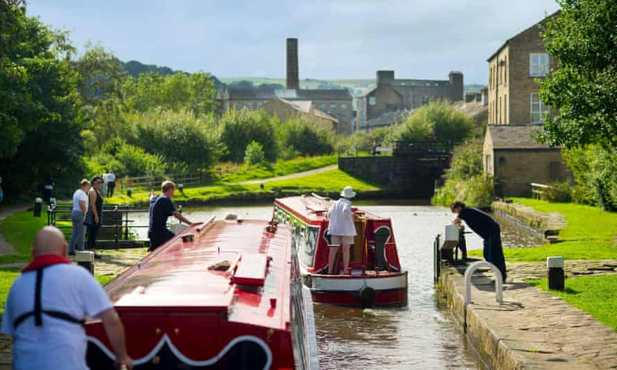 Canal boaters heading towards Sowerby Bridge in West Yorkshire.