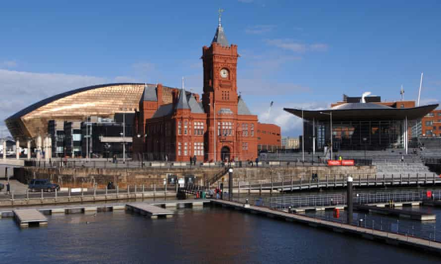 The Welsh Assembly building, or Senedd (right), on Cardiff Bay.