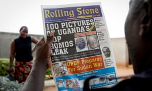 A 2010 copy of Rolling Stone in which the paper reveals the identity of Ugandan gay rights activist David Kato (left).