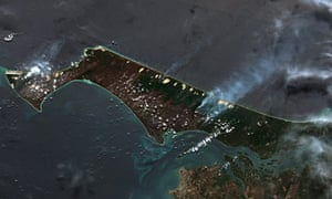 The north end of the island, on the left in this image, has been almost completely burnt.