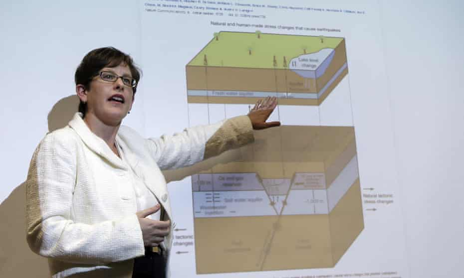 Professor Heather DeShon explains the process by which earthquakes occur in the Azle, Texas, area, during a news conference at the Southern Methodist University campus in Dallas this week.