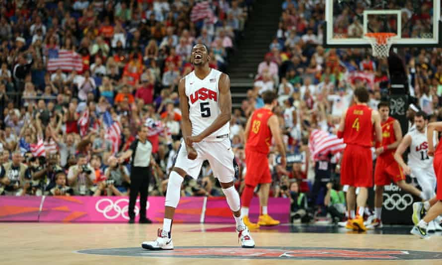 Kevin Durant celebrates during the gold medal game against Spain at the 2012 Olympic games in London.