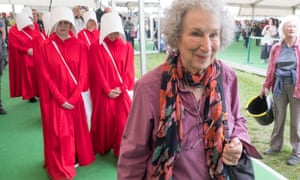 At the Hay literary festival, accompanied by handmaidens.