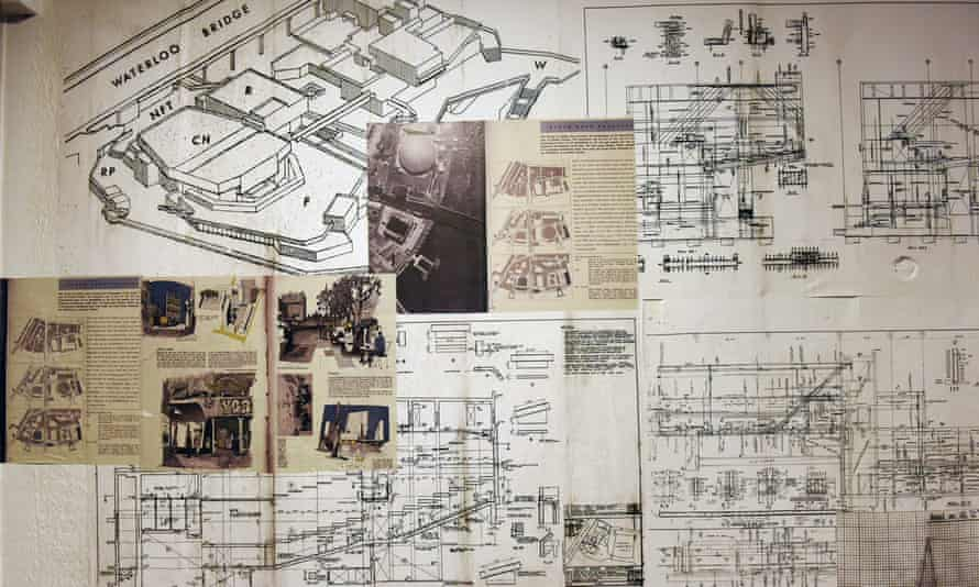 The exhibition features original plans of the building.