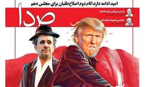 The front cover of the Iranian weekly Seda depicts Mahmoud Ahmadinejad and Donald Trump in a film poster.
