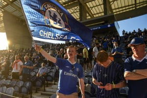 Chelsea's supporters cheer before the match. Both clubs have been given 6,000 tickets for the final.