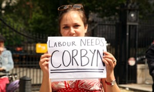 A pro-Corbyn protest in London on Sunday.