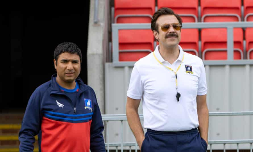Mid-table ... Nick Mohammed and Jason Sudeikis in Ted Lasso.