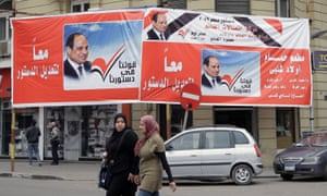 """Banners in Egypt's streets say """"together to amend the constitution"""" – urging Egyptians to vote for constitutional amendments in the upcoming referendum."""