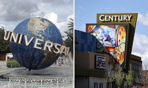 The Universal Studios globe and the Cinemark Century 16 movie theater in Aurora, Colorado.