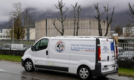 A police forensic department van parked outside the 7th CBA de Reynies mountain infantry military barracks in Varces-Allieres-et-Risset on Thursday.