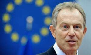 Tony Blair with an EU flag in the background