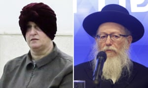 Malka Leifer in 2018 (left) and Israeli government minister Yaacov Litzman in 2020