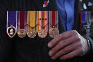 Dave Murtagh displays his father's medals