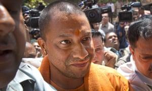 Yogi Adityanath, the hardline Hindu leader, prepares to meet party leaders.