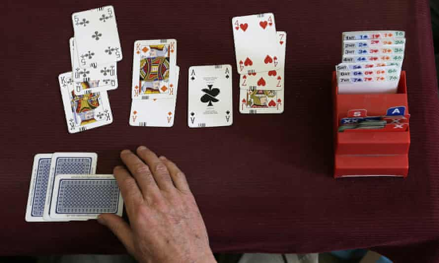 A competitor playing bridge at the Acol bridge club in West Hampstead, London