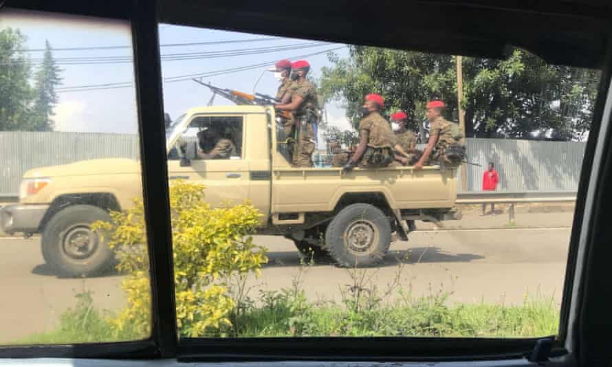 Ethiopian military patrol the streets after protests in Addis Ababa in July 2, 2020.
