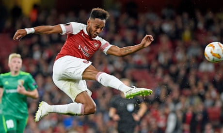 Arsenal's Pierre-Emerick Aubameyang at the double against Vorskla Poltava