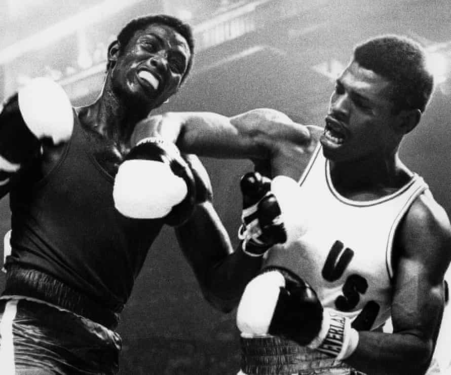 Spinks during his gold medal bout with Cuba's Sixto Soria at the 1976 Olympic Games.