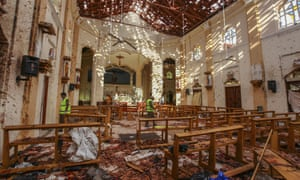 A view of St Sebastian's church damaged in blast in Negombo, north of Colombo, Sri Lanka, on Sunday.
