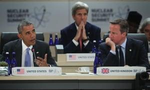 Barack Obama, John Kerry and David Cameron at the 2016 Nuclear Security Summit.